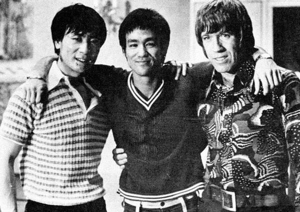 Hwang In-shik, Bruce Lee, and Chuck Norris in Hong Kong to film The Way of the Dragon in 1972
