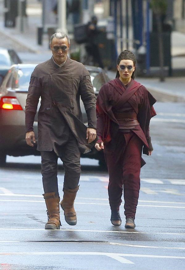 Mads Mikkelsen and Zara Phythian filming Doctor Strange in New York.