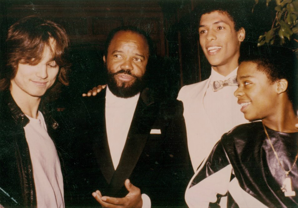 Glen Eaton, Berry Gordy, Taimak and Leo O'Brien at the Los Angeles premiere of The Last Dragon in 1985.